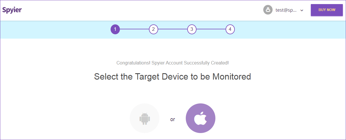Congratulations! Spyier Account Successfully Created! Select the Target Device to be Monitored: Android or iPhone.